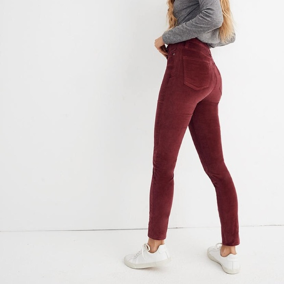 "Madewell Pants - 10"" High-Rise Skinny Jeans: Stretch Velvet Edition"